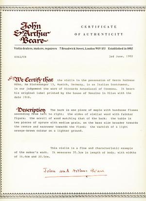 Beare商会の証明書
