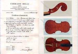 イタリア新作ヴァイオリン Corrado Belli の製作証明書