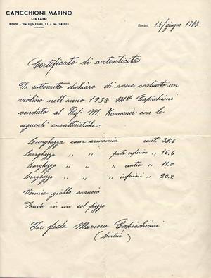 モダンイタリーヴァイオリンCapicchioniの自筆による証明書