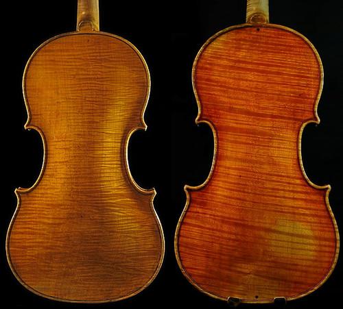 ヴァイオリン裏板、板目取りと柾目取りの違い