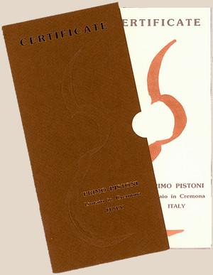 イタリア新作ヴァイオリン Pistoniの製作証明書